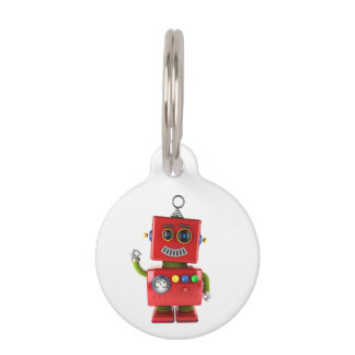 Red toy robot waving hello pet name tag