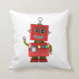Red toy robot waving hello pillow