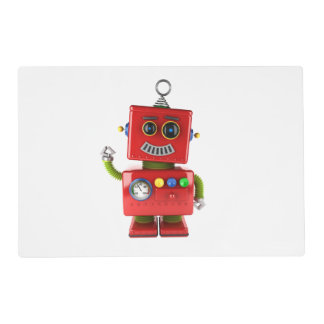 Red toy robot waving hello placemat