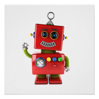 Red toy robot waving hello poster