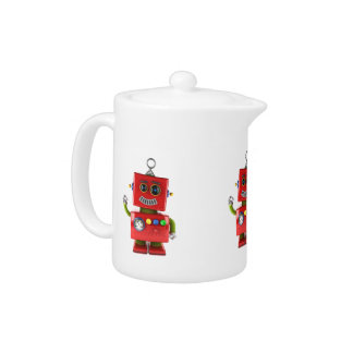 Red toy robot waving hello teapot