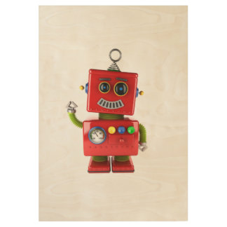 Red toy robot waving hello wood poster