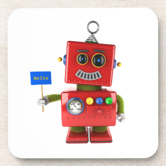 Red toy robot with hello sign beverage coaster