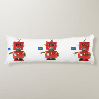 Red toy robot with hello sign body pillow
