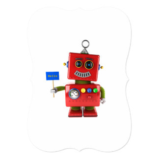 Red toy robot with hello sign card