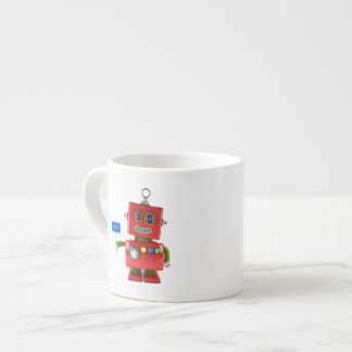 Red toy robot with hello sign espresso cup