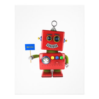 Red toy robot with hello sign flyer