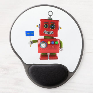 Red toy robot with hello sign gel mouse pad