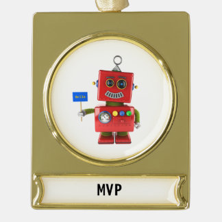 Red toy robot with hello sign gold plated banner ornament