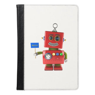 Red toy robot with hello sign iPad air case