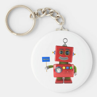 Red toy robot with hello sign keychain