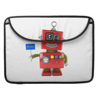 Red toy robot with hello sign MacBook pro sleeve