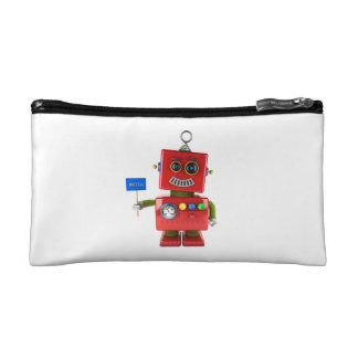 Red toy robot with hello sign makeup bag