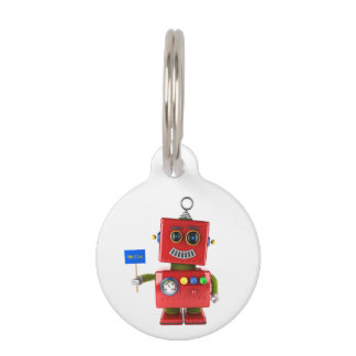 Red toy robot with hello sign pet name tag
