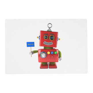 Red toy robot with hello sign placemat