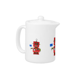 Red toy robot with hello sign teapot