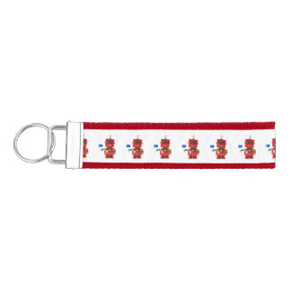 Red toy robot with hello sign wrist keychain