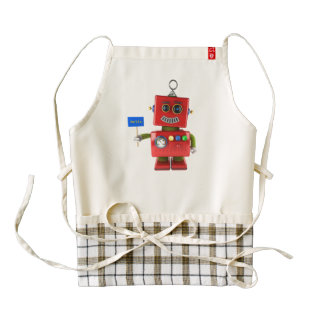 Red toy robot with hello sign zazzle HEART apron