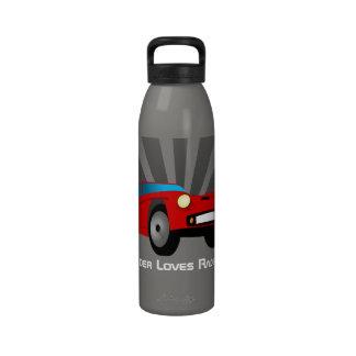 Red Toy Sports Race Car Boys Kids Water Bottle
