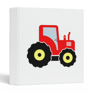 Red toy tractor 3 ring binder