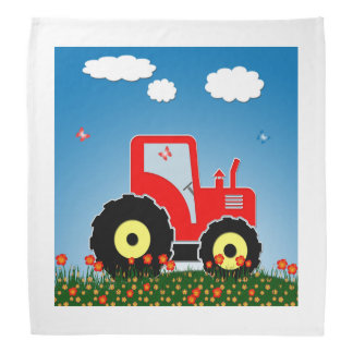Red toy tractor bandana