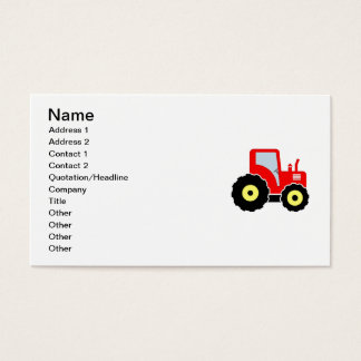 Red toy tractor business card