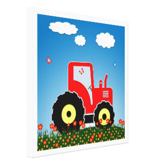 Red toy tractor canvas print