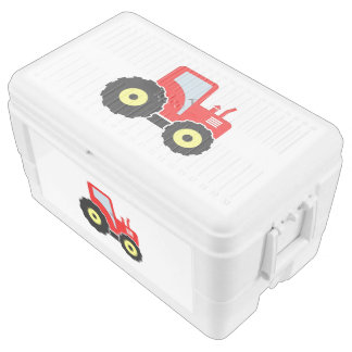 Red toy tractor cooler