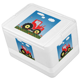 Red toy tractor drink cooler