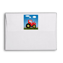 Red toy tractor envelope