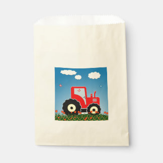 Red toy tractor favor bag