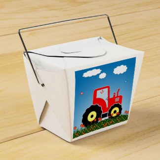 Red toy tractor favor box