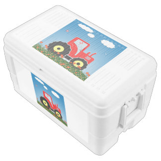 Red toy tractor ice chest