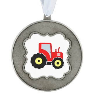 Red toy tractor scalloped pewter christmas ornament