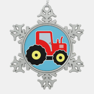 Red toy tractor snowflake pewter christmas ornament