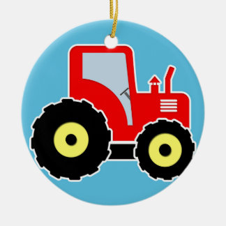 Red toy tractor Double-Sided ceramic round christmas ornament