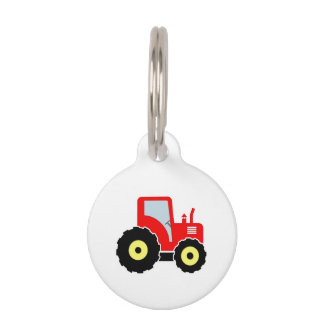 Red toy tractor pet ID tag