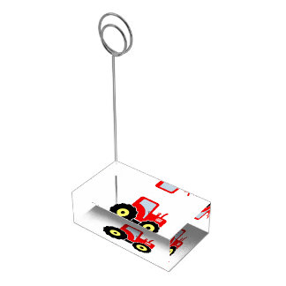 Red toy tractor place card holder