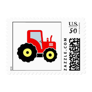 Red toy tractor postage