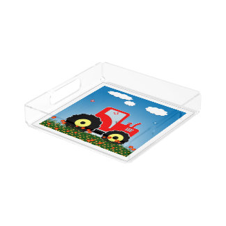 Red toy tractor serving tray