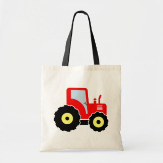 Red toy tractor tote bag