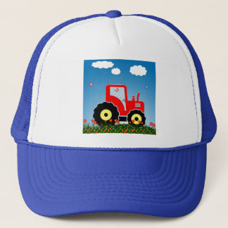 Red toy tractor trucker hat