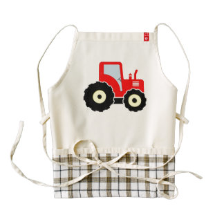 Red toy tractor zazzle HEART apron