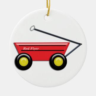 Red Toy Wagon Ceramic Ornament