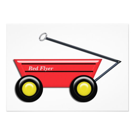 Red Toy Wagon Personalized Announcement
