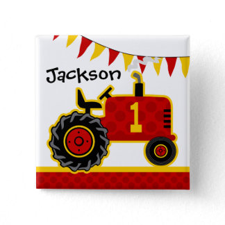 Red Tractor 1st Birthday Button