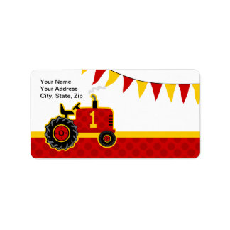 Red Tractor 1st Birthday Label