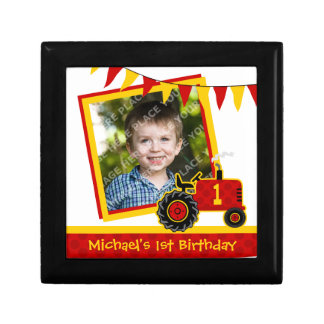 Red Tractor 1st Birthday Photo Keepsake Gift Box