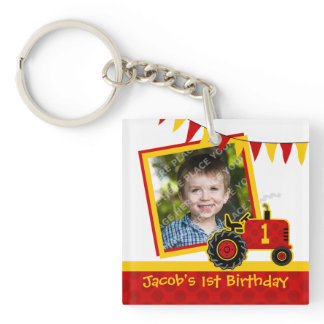 Red Tractor 1st Birthday Photo Keychain