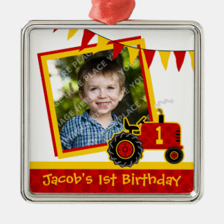 Red Tractor 1st Birthday Photo Square Metal Christmas Ornament